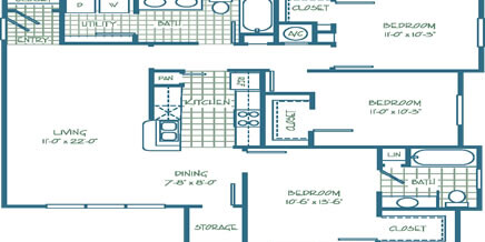 Three Bedroom – Two Bath (1187 SQ. FT.)
